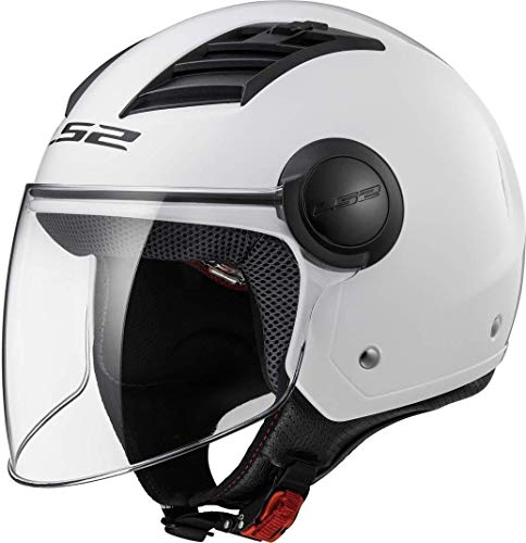 LS2Airflow - Casco aperto per moto, taglia L, colore: bianco brillante XL Nero opaco