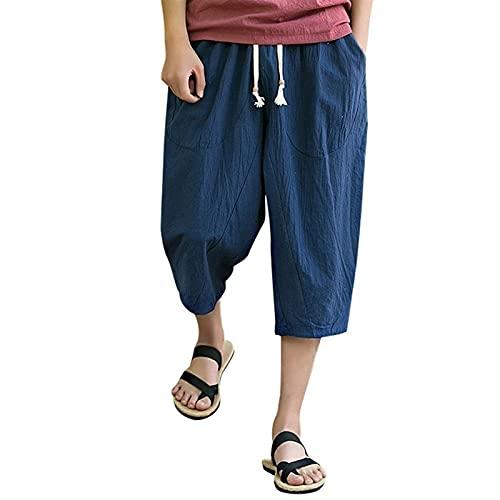 joyvio Pantalones Cortos Sueltos de Lino de algodón para Hombre 3/4 Verano Casual Boho Pantalones Cortos Largos Cintura elástica Pierna Ancha Playa Pantalones de Yoga (Color : Navy Blue, Size : XL)