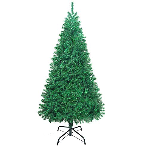 UHINOOS Artificial Christmas Tree, Christmas Full Tree with Metal Stand, Easy Assembly Unlit Christmas Tree (6FT)