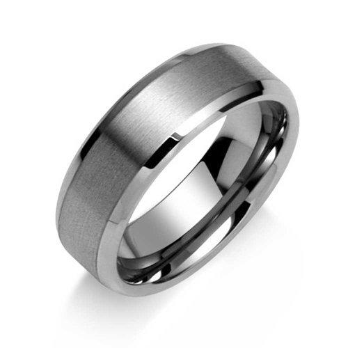 Bling Jewelry Ancho Pulido Biselado Borde Cepillado Mate Parejas Titanio Anillo de la Banda de Boda para los Hombres Comodidad Ajuste 8MM