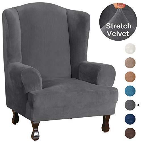 Turquoize Wing Chair Slipcover Slipcover Velvet Slipcover用于卧室超软毛绒沙发覆盖1件家具盖/翼椅盖,带有弹性底,机器可洗(翼椅,灰色)