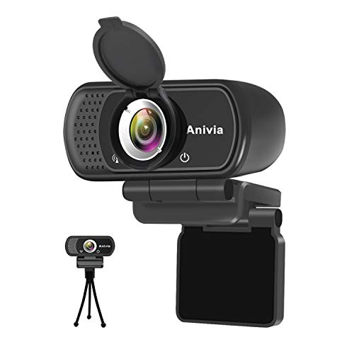 Webcam Full HD 1080p autofoco portátil Webcam micrófono Incorporado Sonido estéreo Dual Flexible Giratorio Clip Mini Plug and Play videollamada videoconferencias cámara de Ordenador Negro