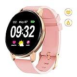 GOKOO Smartwatch Fitness Tracker Armband Damen Herren Full-Touchscreen IP67 Wasserdicht Aktivitätstracker mit Pulsmesser Schrittzähler Kalorienzähler für IOS Android(Rosa)