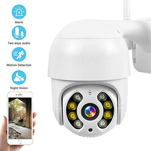 PTZ Camara Vigilancia, Camara WiFi Exterior Impermeable IP66 con Audio de Dos Vías, Visión Nocturna en Color, Detección de Movimiento,AI Alarma, 355° Pan/90° Tilt