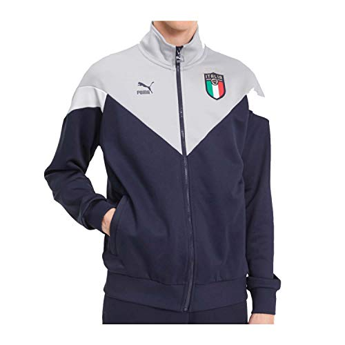 PUMA FIGC Italien Iconic MCS Track Jacke EM 2020 Herren dunkelblau/grau, S