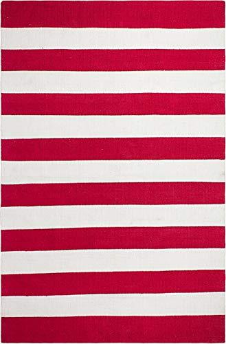 FAB HAB Nantucket - Tapis Rouge & Blanc en Polyéthylène recyclé (Fibres Polyester) pour intérieur/extérieur (180 cm x 270 cm)