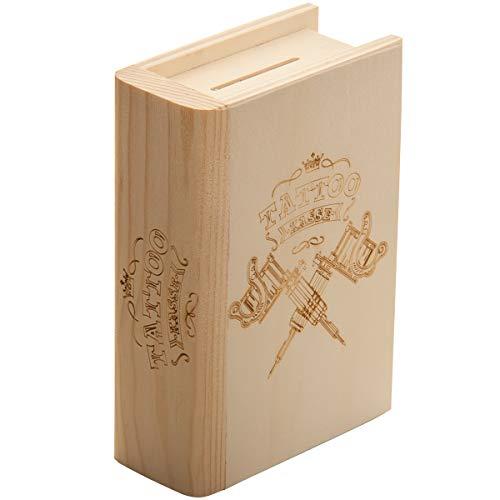 Spruchreif PREMIUM QUALITÄT 100{d1115f6c734f1feadfe47ac8ce4c8519022912171c6687cba637ce3b6a042a78} EMOTIONAL · Spardose Buch aus Holz mit Gravur Tattookasse · Geldgeschenk Sparbüchse · Geschenk Weihnachten · Geburtstag · Geschenk für das nächste Tattoo