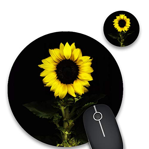 Round Mouse Pad and Coasters Set, Sunflower Background Mousepad, Non-Slip Rubber Round Gaming Mouse Pad, Customized Mouse Mat for Home Office Business Gaming,7.87 x 7.87 x 0.1 Inch