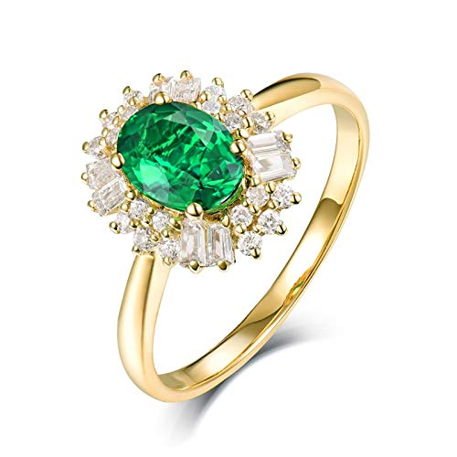 AtHomeShop Real Gold Collection, 18K Yellow Gold Rings, Flower Trust Ring with Sparkling Oval Emerald and Diamond Wedding Proposal Ring for New Year Gift gold