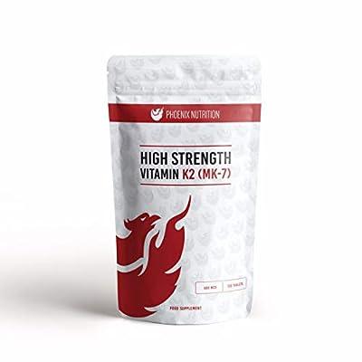 High Strength Vitamin K2 (Mk7), 500mcg x 180 Tablets - by Phoenix Nutrition from Phoenix Nutrition
