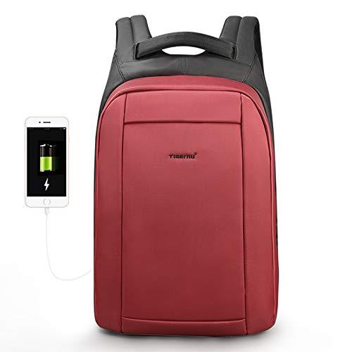 Tigernu Protector Designer Laptop-Rucksack mit USB Ladeanschluss in Rot | Anti-Diebstahl Daypack mit 15,6 Zoll Laptochfach | Wasserabweisende Laptoptasche 19L