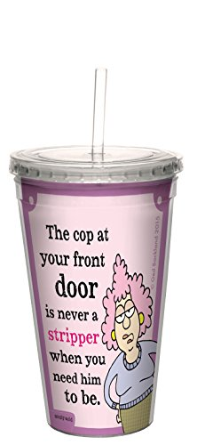 Tree-Free Greetings 16-Ounce Double-Walled Cool Cup with Reusable Straw, Aunty Acid Stripper Cop (CC98517)