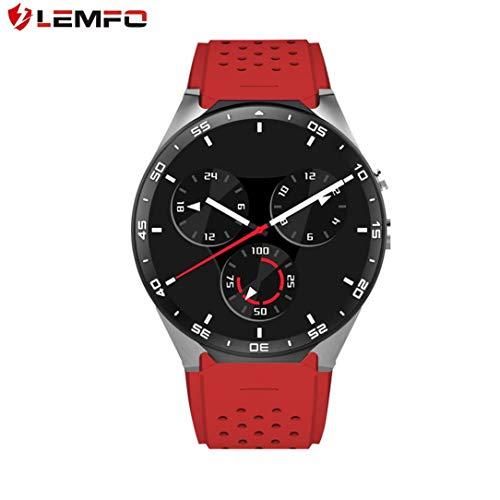 KW88 stappenteller hartslagmeter GPS smartwatch voor iOS (rood)