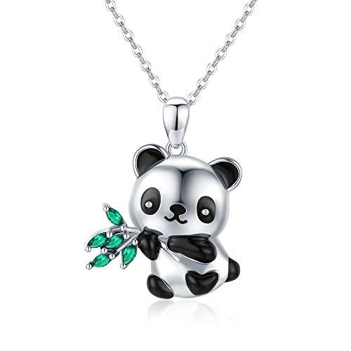 CHENGHONG Panda Necklace for Women 925 Sterling Silver Cute Panda Stuffed Animal Pendant Necklace Panda Bear Jewelry Gifts for Women Mom