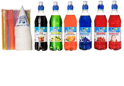 Large Snow Cone Kit, 6 x 500ml Flavours of Snow Cone Topping Sauce, 100 x...