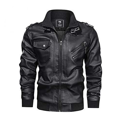FZYQY Herren Leder Motorradjacke, Bikers Gear, Motorrad-Lederjacke, Fluganzug Zip Freizeitjacke Bikers Gear Motorradwandern/A/XL
