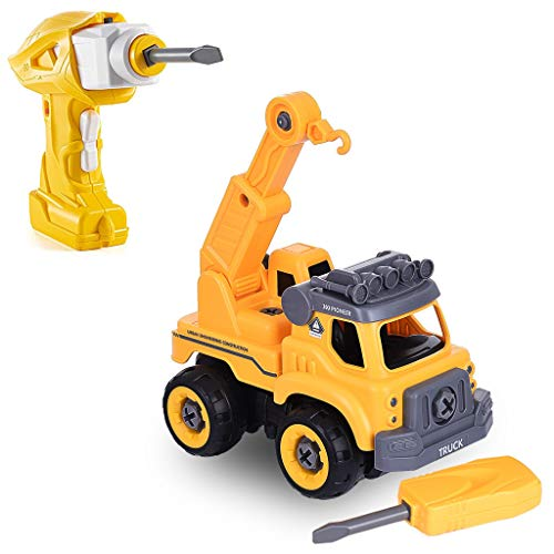 ALWMHWOE Take Apart Toys with Electric Drill | Converts to Remote Control Car | Construction Truck Take Apart Toy for Boys | Gift Toys for Boys | Kids Stem Building Toy