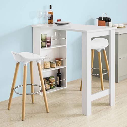SoBuy® Bartisch, Beistelltisch, Stehtisch, Küchentheke, Küchenbartisch mit 3 Regalfächern, Tresen, weiß - 5
