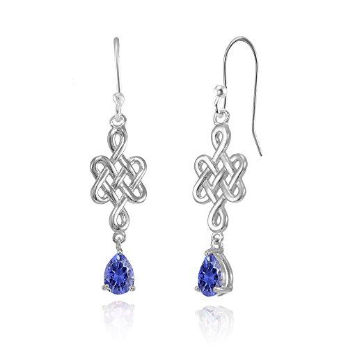 Sterling Silver Tanzanite 6x4mm Teardrop Celtic Infinity Knot Dangle Earrings
