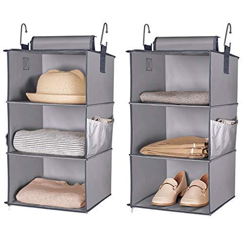 HOKEMP 6-Shelf Hanging Closet Organizers Collapsible Two 3-Shelf Separable Hanging Closet Shelves for Clothes Sweaters Shoes T Shirts Grey