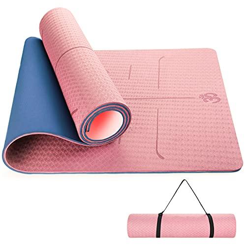 Sportout Tapis de Yoga Antidérapant Tapis de Sport en TPE Tapis de Gymnastique pour Sport au Sol Gym Pilates et Fitness Hommes Femmes - 183x61x0.6 cm (bleu)