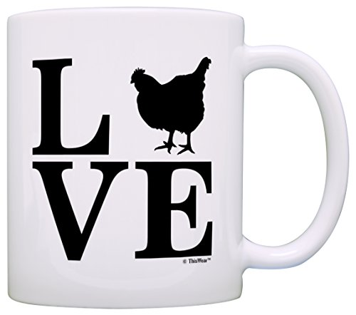 Barnyard Farm Animal Love Chickens Hens Barn Yard Gift Coffee Mug Tea Cup White