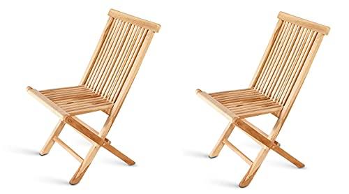 SAM 2er Set Balkonstuhl Menorca, Teakholz massiv, zusammenklappbarer Gartenstuhl, Klappstuhl für Balkon, Garten & Terrasse