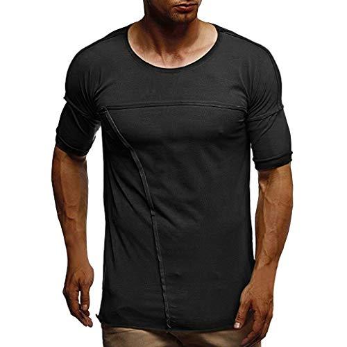 CICIYONER Herren Sommer T-Shirt Kurzarm Rundhalsausschnitt Muscle Basic Shirt Slim Fit Top Tee Schwarz grün weiß S M L XL XXL