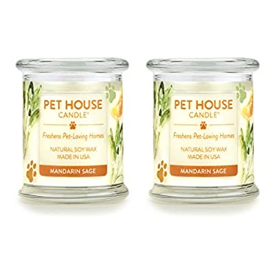 One Fur All 100% Natural Soy Wax Candle, 20 Fragrances - Pet Odor Eliminator, Up to 60 Hours Burn Time, Non-Toxic, Eco-Friendly (Pack of 2, Mandarin Sage)