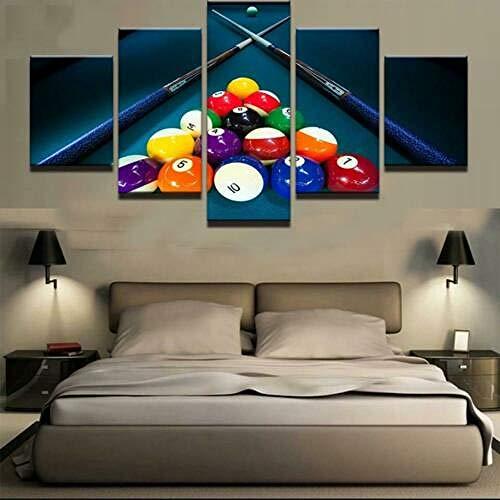 IJNHY Cuadro Pool Billar Tacos Bolas Deporte 5 Piezas De Arte De Pared XXL Impresiones En Lienzo 5 Piezas Cuadro Moderno para El Arte De La Pared del Hogar 150×80 Cm HD Impreso Mural Enmarcado