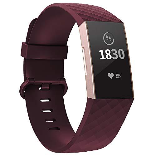 Adepoy für Fitbit Charge 3 Armband, Verstellbarer klassischer Sport Ersatzarmband Kompatibel mit Fitbit Charge 3/ Charge 3 SE, Damen Herren (Winerot, Klein)