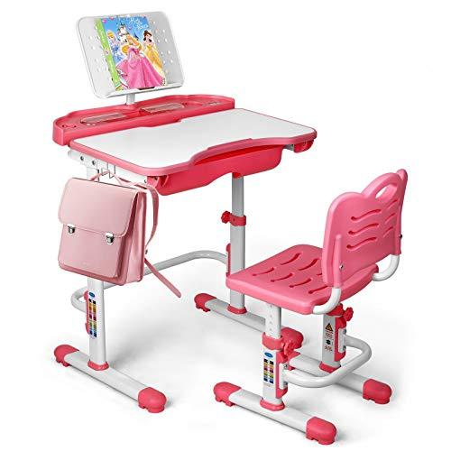 SIMBR Kids Desk and Chair Set, Height Adjustable Student Study Desk and Chair Set for Girls with Large Storage Drawer, 180°Bookshelf, 55°Tilted Desktop, Metal Hook, Double-Layer Backrest, Pink