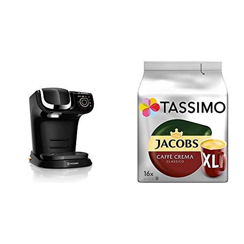 Bosch TAS6502 Tassimo My Way Kapselmaschine, über 70 Getränke, Personalisierung, vollautomatisch, BRITA Wasserfilter + Tassimo Kapseln Jacobs Caffè Crema + Latte Macchiato + Milka + Probierbox