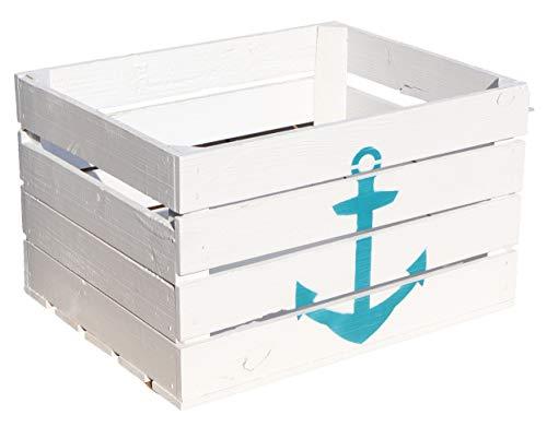 Kistenkolli Altes Land Obstkiste Johanna weiß mit türkisem Anker 50x40x30cm Maritimer Look für Ihr zu Hause Holzkiste Vintage Hafen