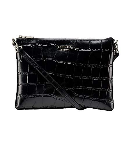 OSPREY LONDON The Lara Black Leather Cross-Body Clutch Handbag