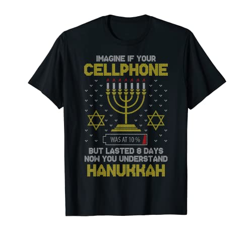 Menorah Cellphone Hanukkah Jewish Ugly Christmas Sweater T-Shirt
