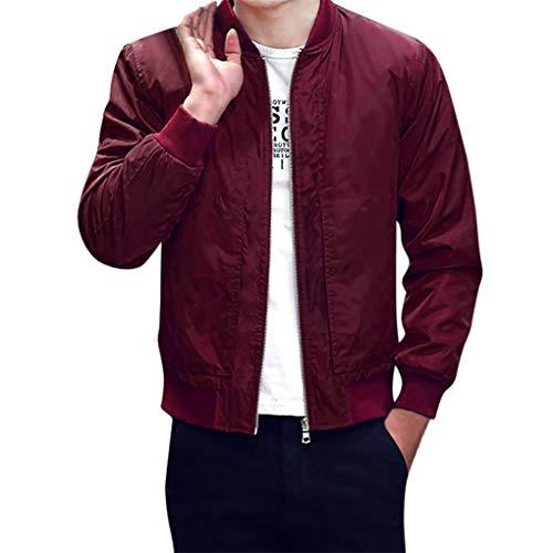 Skxinn Herren Jacke Übergangsjacke Kunstleder Stehkragen Parka Jacke WindbreakerMantel Jacket Coat Gr M-6XL(Z05-Rot,XXX-Large)