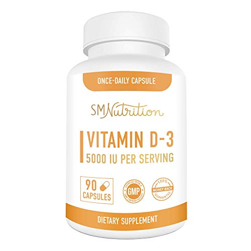 Vitamin D3 125mcg (5000 IU) Supplement for Adults (90 Capsules) - Bone Health, Immunity, Mood Support; 3-Month Supply of Vitamin D 125mcg (5000 IU); Non GMO Vitamin D, Third-Party Tested