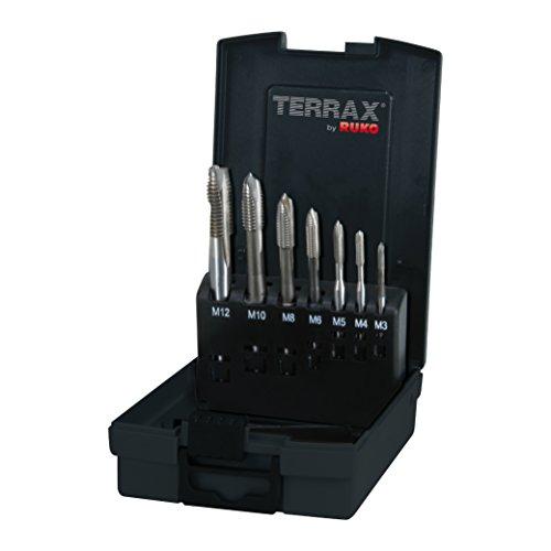 TERRAX by RUKO Maschinengewindebohrer-Satz M DIN 371/376 Form B mit Schälanschnitt HSS in Kunststoffkassette