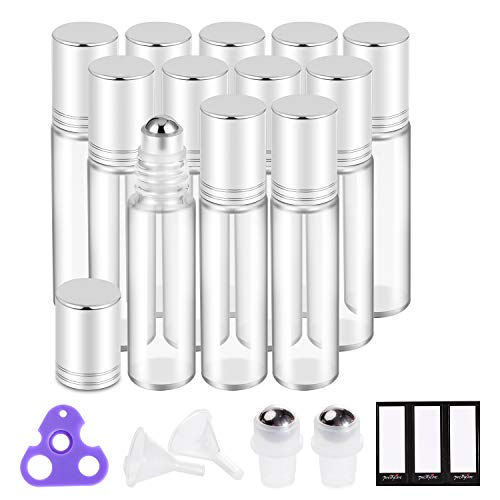 Essential Oil Roller Bottles 10ml (Clear Glass, 12 Pack, 2 Extra Stainless Steel Balls, 24 Labels, Opener, Funnels by PrettyCare) Roller Balls for Oils, Roller on Bottles