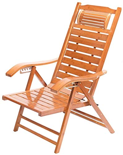 Sun Lounger Deck Chair Beach Yard Pool Folding Reclining Adjustable Chaise Bamboo Lounge Chair Indoor or Outdoor Relax Chair xiuyun (Color : B)