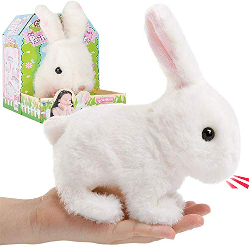 Liberty Imports Plush Bunny Rabbit Pet Electronic Toy - Walking, Hopping, Wiggle Ears, Twitch Nose, Sounds for Kids