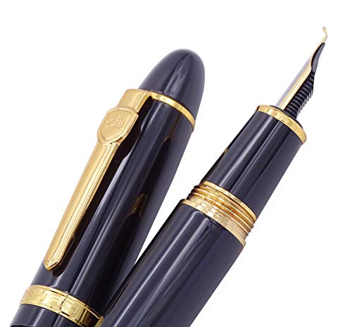 Jinhao 159 Fountain Pen, Fude Pen Bent Nib, Black Lacquer Gold Trim Big Heavy Pen with Pouch and Ink Converter