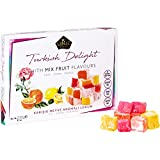 Cerez Pazari Turkish Delight with Rose, Orange and Lemon Mix Flavours 8.1 Oz Gourmet Small Size Snacks Gift Box   No Nuts Sweet Luxury Traditional Confectionery Vegan Soft Candy Dessert Glucose Free Lokum (Loukoumi) Approx.40 Pcs