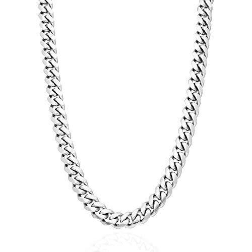 Collar de cadena de plata de ley 925, cadena de 10 mm de grueso, collar de 61 cm, 66 cm, 71 cm
