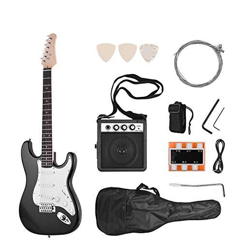 KEPOHK 21 Bünde 6 Saiten E-Gitarre Massivholz Paulownia Korpus Ahorn Hals mit Lautsprecher Notwendige Gitarrenteile & Zubehör Schwarz-Rechts