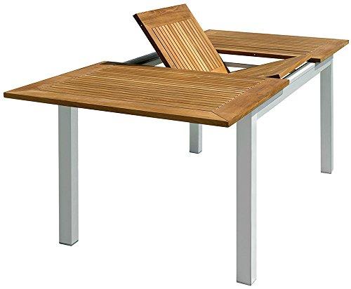 PEGANE Table de Jardin rectangulaire et Extensible en Aluminium et Bois Teck - Dim : L 150/210 x P 90 x H 75 cm