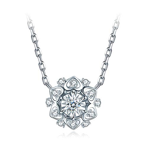 Daesar Colgante Oro 18K Blanco,Colgante Mujer Plata Corazones Flor Diamante Blanco 0.03ct