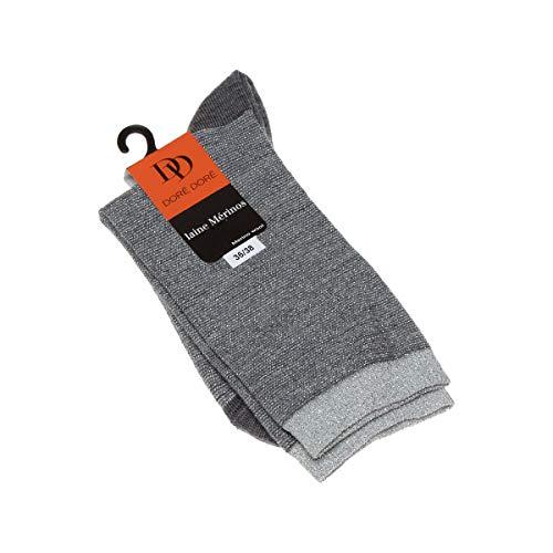 Dore Dore Socke mittelhoch - 1 paar - verstärkte Ferse - Verstarkte zehen - Flachnaht - ohne Frotte - Funkeln - Fine - Laine - Gris - DD - 36/38