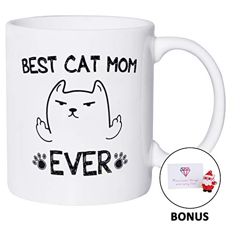 Cat Mom Mug Gifts for Cat Lovers Best Cat Mom Ever Christmas Birthday Gifts for Women 11 oz White Funny Mugs Coffee Tea Cup, Bonus Pendant & Card